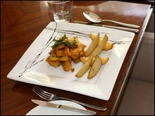 Fish curry and chips