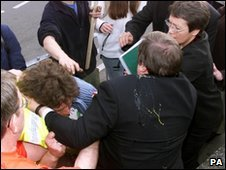 John Prescott scuffles with protester in 2001