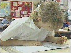 girl doing test