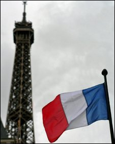 French national flag in front of the Eifel Tower, Paris