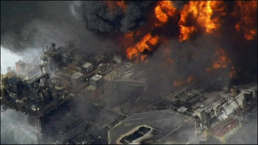Aerial view of oil rig Deepwater Horizon on fire