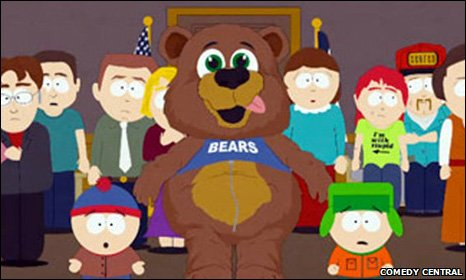 South Park episode with Muhammad in a bear suit