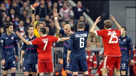 Franck Ribery is sent off