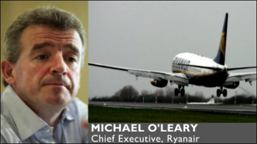 Ryanair boss Michael O'Leary speaks via phone to the BBC's News Channel