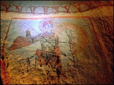 Cave painting of St George