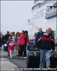 Britons stranded in Spain board the luxury cruise liner Celebrity Eclipse on Thursday 22 April