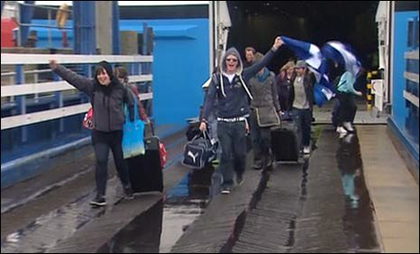 Passengers arrive