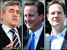 Gordon Brown, David Cameron and Nick Clegg out campaigning on Thursday