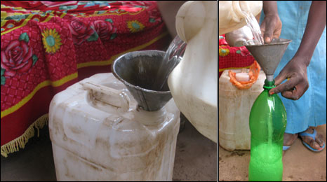 Pouring out araqi, illegal gin, into plastic containers
