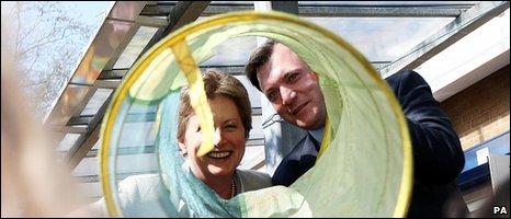 "Labour's Ed Balls and Gisela Stuart at the Four Dwellings Children""s Centre in Quinton, Birmingham"