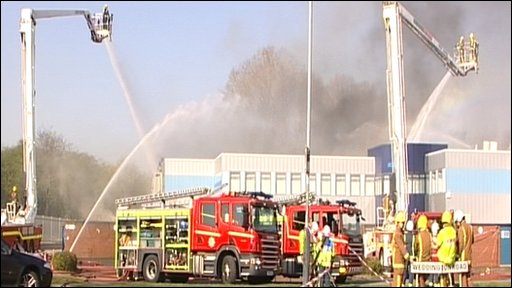 Fire at Abbey Metal Finishing firm in Nuneaton. Warwickshire