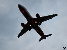 Air Berlin jet over Tegel airport, Berlin