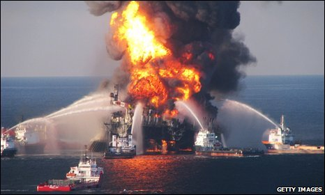Oil rig on fire off coast of Louisiana