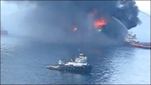 Firefighting ships trying to control the blaze on the rig before it sank