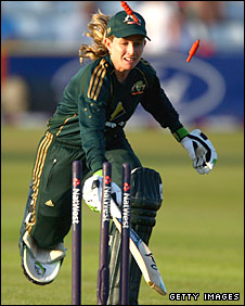 Jodie Fields takes a quick single for Australia