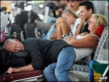 Stranded passengers in area of Suvarnabhumi Airport, Bangkok