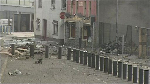 Aftermath of bomb in Newtownhamilton
