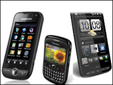 Samsung, HTC and BlackBerry smartphones
