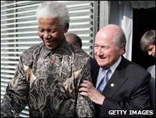 Fifa president Sepp Blatter with Nelson Mandela