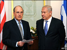 Israeli PM Benjamin Netanyahu and US envoy George Mitchell meet in Jerusalem