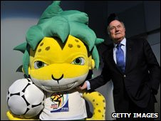 Fifa president Sepp Blatter with the 2010 World Cup mascot Zakumi