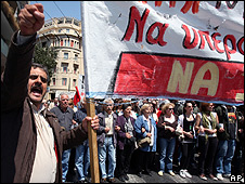 Athens protest against austerity measures, 22 Apr 10