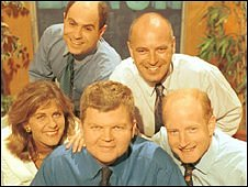 Clockwise from top left: Adam Shaw, Rob Pittam, Simon Gompertz, Adrian Chiles and Gillian Lacey-Solymar.