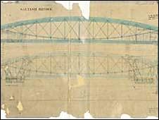 original blueprint for Brunel's bridge