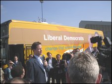 Nick Clegg during a visit to Norwich