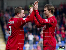 Aberdeen strikers Steven MacLean and Darren Mackie