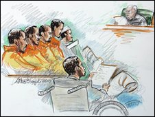 Drawing of defendants in court