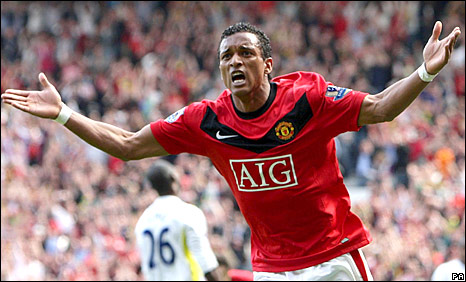 Nani celebrates scoring against Spurs