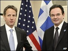US Treasury Secretary Timothy Geithner (left) and Greek Finance Minister George Papaconstantinou at the International Monetary Fund headquarters in Washington, 24 April 2010