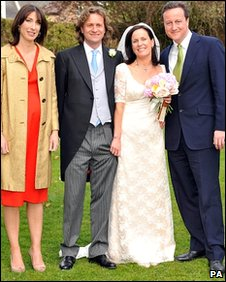 David Cameron and wife Samantha with the bride and groom