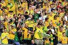 Norwich City fans celebrate securing the League One title