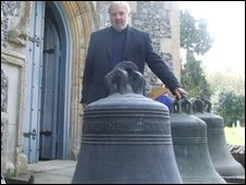 Rev. Canon Harry Edwards and the three bells at Campsea Ashe