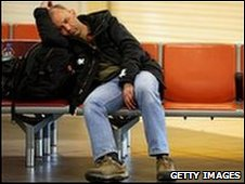 Man stranded at an airport