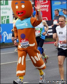 A runner dressed as a gingerbread man