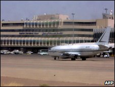 A plane sits on the runway of Baghdad airport