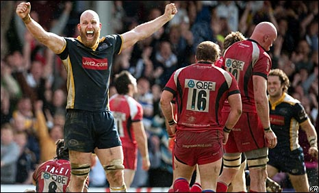 Leeds second row Erik Lund celebrates after Carnegie sent Worcester down to the Championship