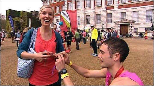 Marathon man proposes
