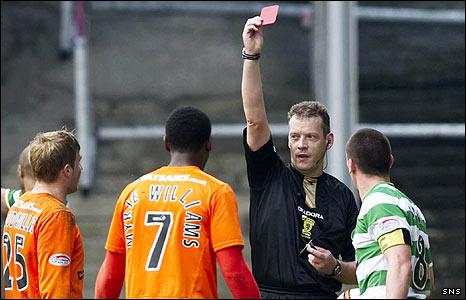 Referee Iain Brines sent off Jennison Myrie-Williams at Tannadice