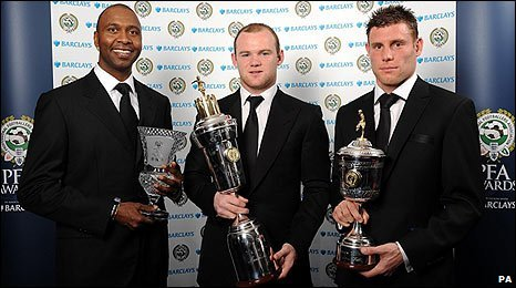 Lucas Radebe, Wayne Rooney and James Milner with their awards