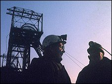 Miners outside pit