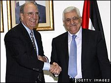 US envoy George Mitchell meeting Mahmoud Abbas