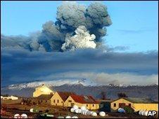 The Eyjafjallajokull volcano erupts in Iceland