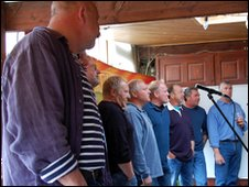 The Fisherman's Friends performing in Perranporth
