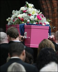 Tia Rigg's coffin being brought into church