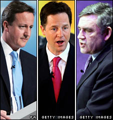 David Cameron, Nick Clegg and Gordon Brown on Monday