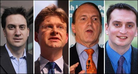 Ed Miliband, Greg Clark, Simon Hughes and Darren Johnson